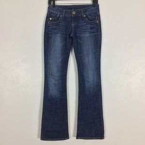 Guess Flare Leg Jeans Dark Wash Blue Denim Stretch